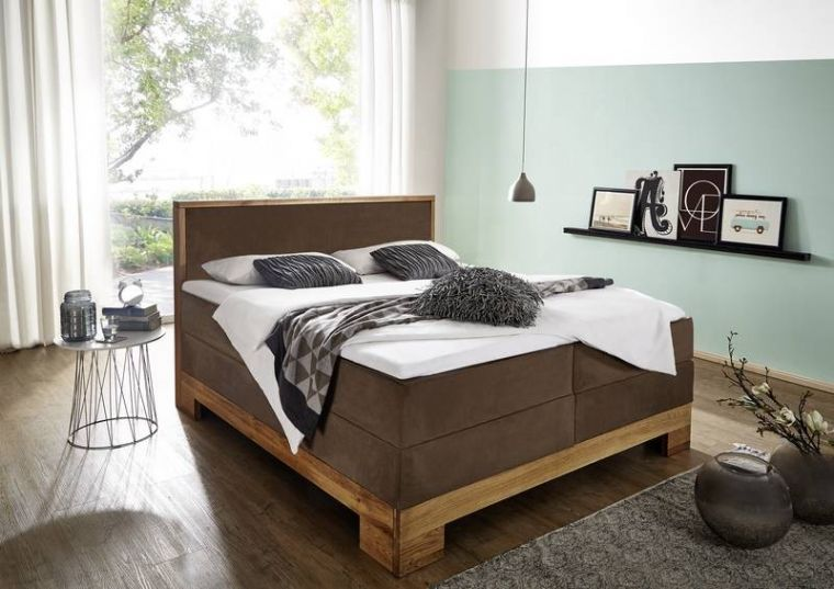 boxspringbett wildeiche 180x200x115 natur ge lt massivholz. Black Bedroom Furniture Sets. Home Design Ideas