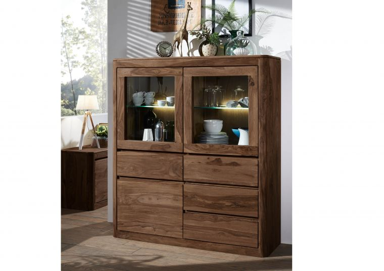 Highboard Sheesham 128x40x145 smoked cherry gebeizt TORONTO #103