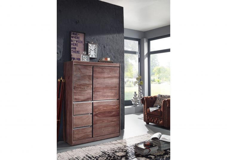 Highboard Sheesham 102x40x147 smoked oak lackiert SYDNEY #202