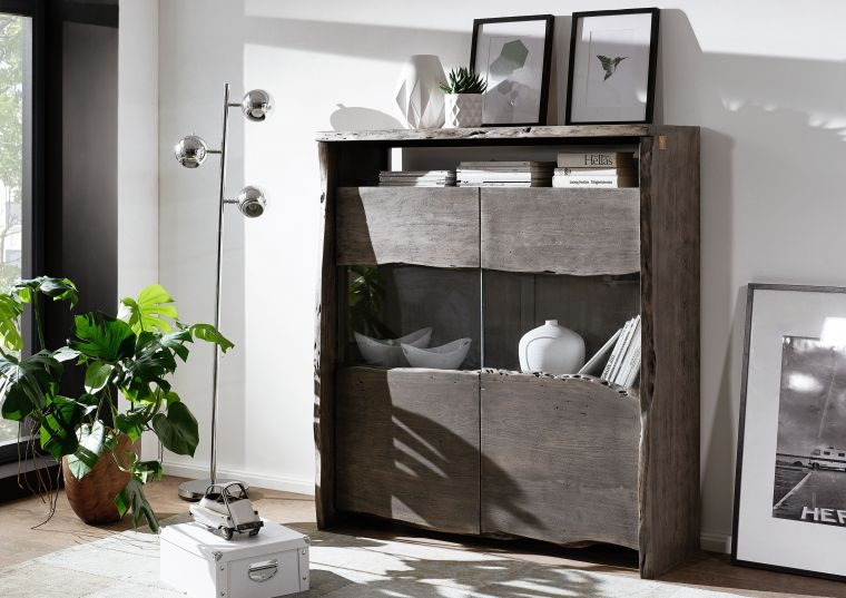 Highboard Akazie 131x45x147 grau lackiert LIVE EDGE #407