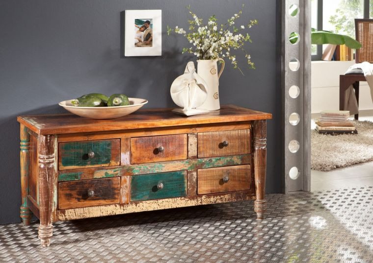 Sideboard Altholz 120x50x55 mehrfarbig lackiert FABLE #01