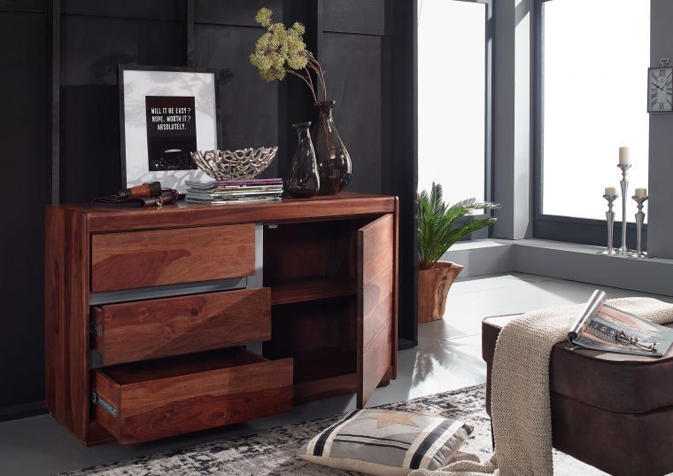 Sideboard Sheesham 127x46x77 noble unique lackiert SYDNEY #106