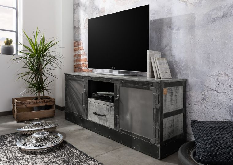 TV-Board Mango 150x40x60 grau lackiert HEAVY INDUSTRY #138