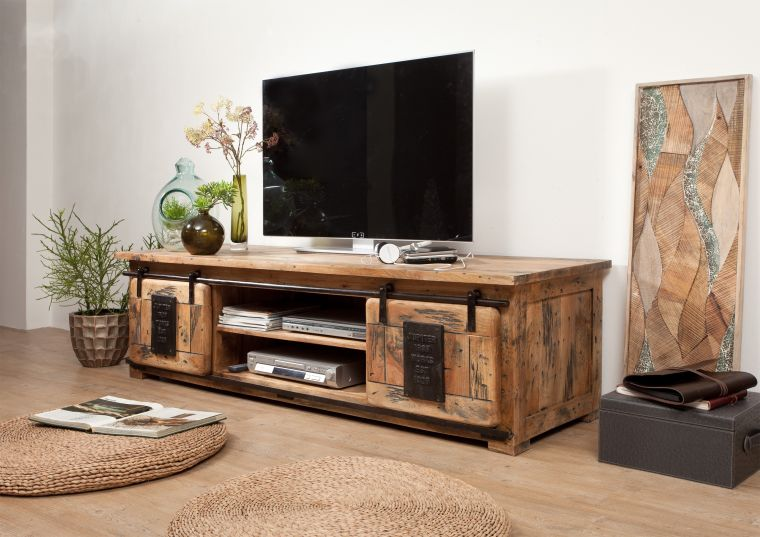 tv board mango 180x55x50 natur lackiert railway 135. Black Bedroom Furniture Sets. Home Design Ideas