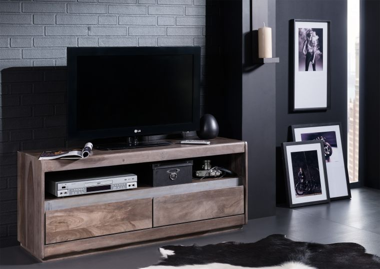TV-Board Sheesham 120x40x50 smoked oak lackiert SYDNEY #214
