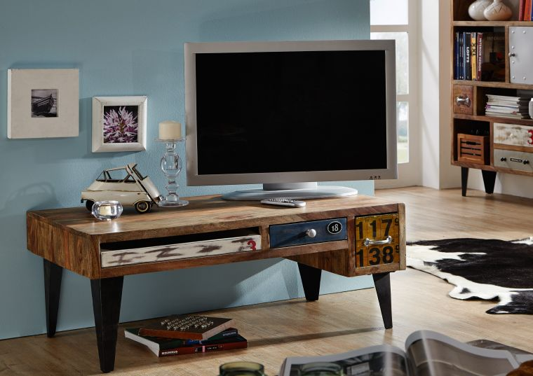 tv board liverpool sheesham 120x60x45 cm industrial stil. Black Bedroom Furniture Sets. Home Design Ideas
