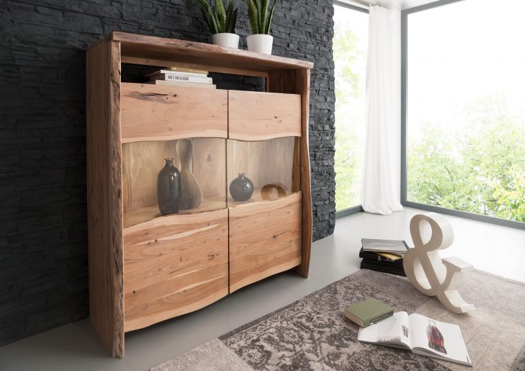 Highboard Akazie 131x45x147 natur lackiert LIVE EDGE #105
