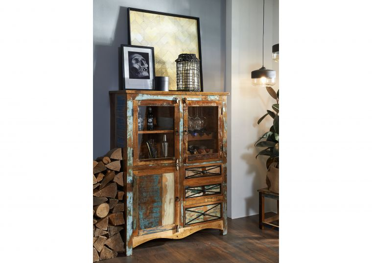Highboard Altholz 106x45x136 mehrfarbig lackiert NATURE OF SPIRIT #113