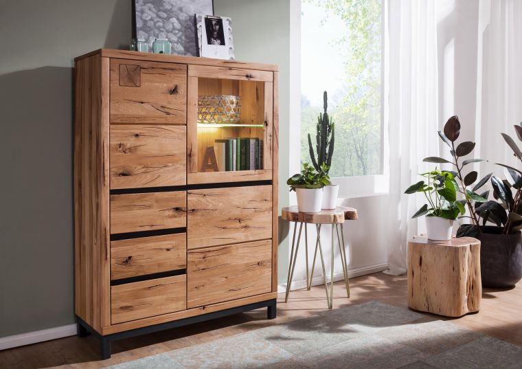 Highboard Wildeiche 103x40x148 natur geölt VILLANDERS #106