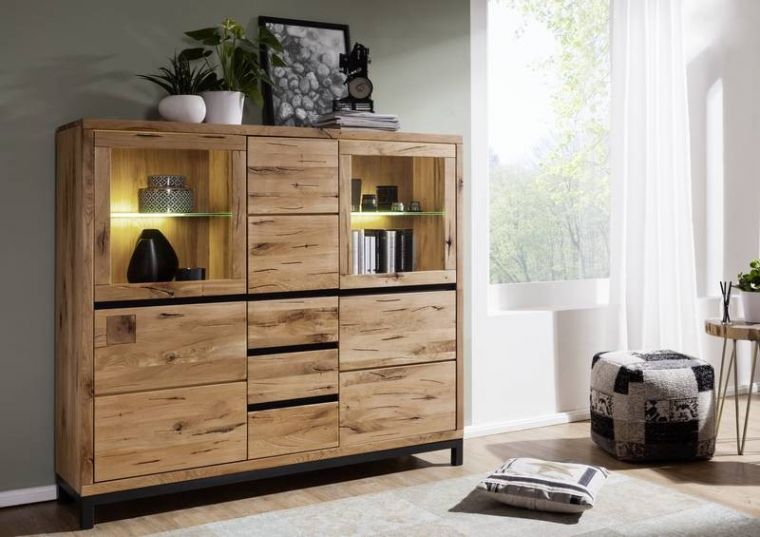 Highboard Wildeiche 166x40x148 natur geölt VILLANDERS #107