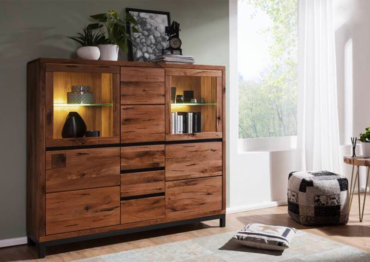 Highboard Wildeiche 166x40x148 Tabacco brown geölt VILLANDERS #307