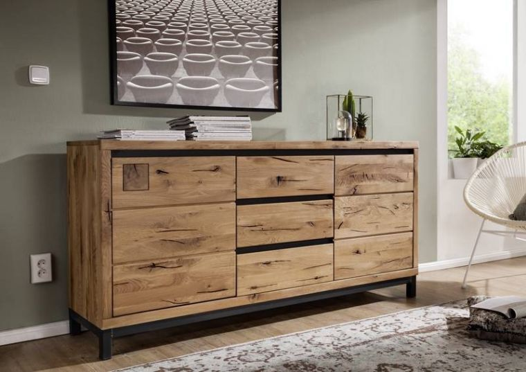 sideboard modern aus wildeiche holz ge lt natur. Black Bedroom Furniture Sets. Home Design Ideas