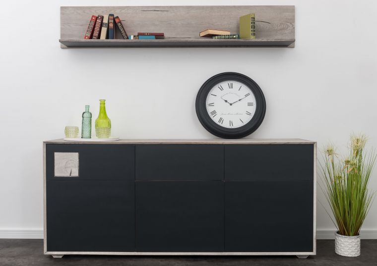 Sideboard Wildeiche 180x42x78 ice grey lackiert HELSINKI #204