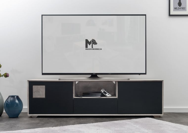 tv board wildeiche 180x55x50 ice grey lackiert helsinki 207. Black Bedroom Furniture Sets. Home Design Ideas