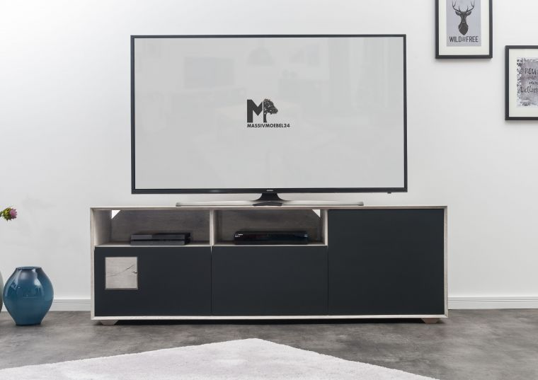 tv board wildeiche 180x50x60 ice grey lackiert helsinki 221. Black Bedroom Furniture Sets. Home Design Ideas