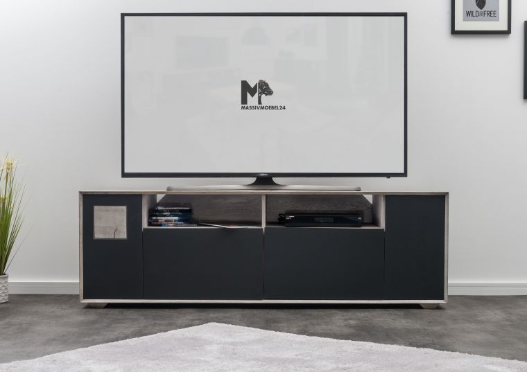 TV-Board Wildeiche 180x50x58 ice grey lackiert HELSINKI #222