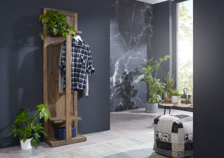 Wandgarderobe Sheesham 55x35x200  grau geölt NATURE GREY #002