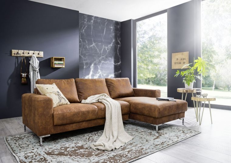 Ecksofa 235x150x90 cognac LONDON