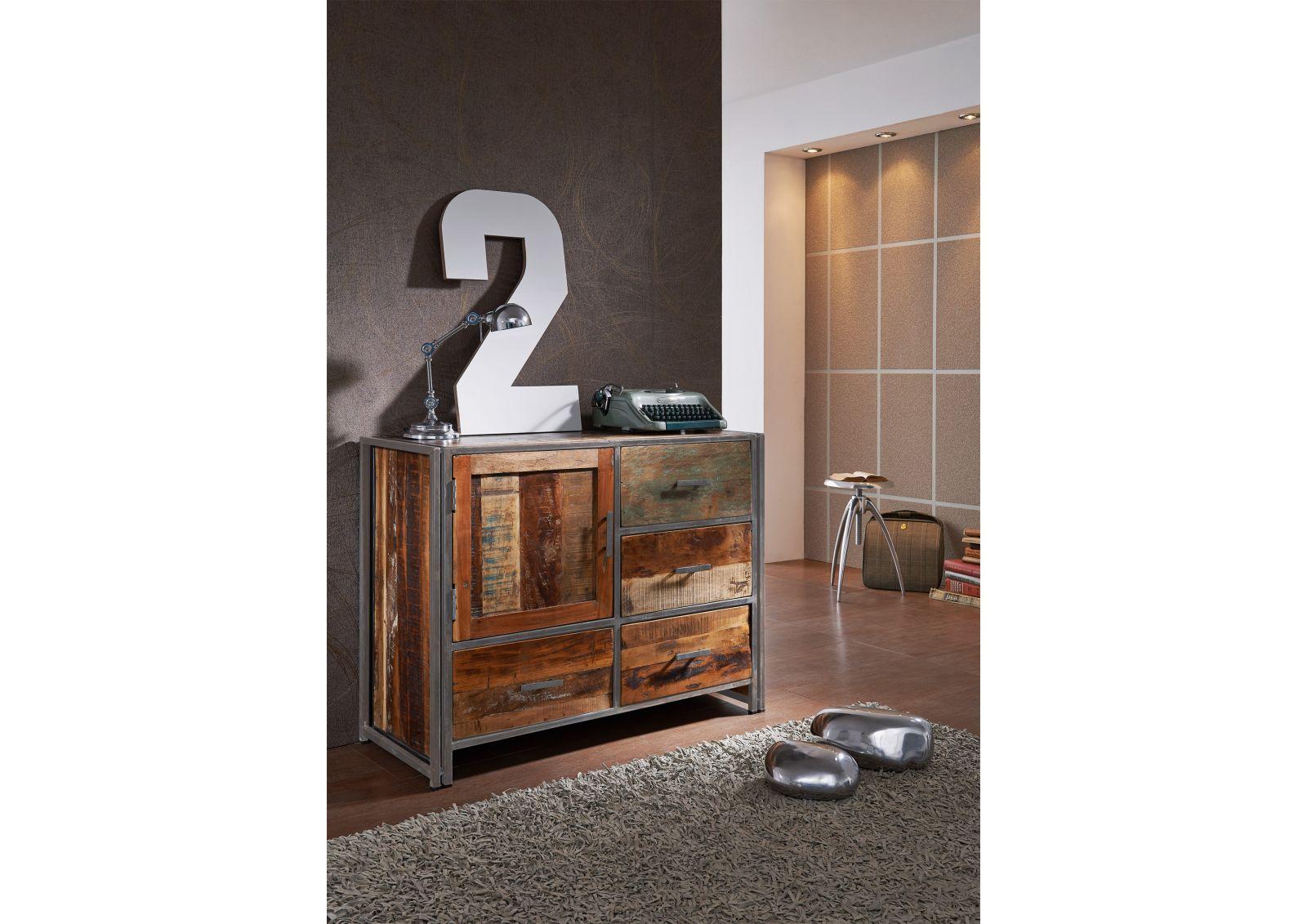 NEW YORK Sideboard #10 Indisches Altholz lack. / Metall