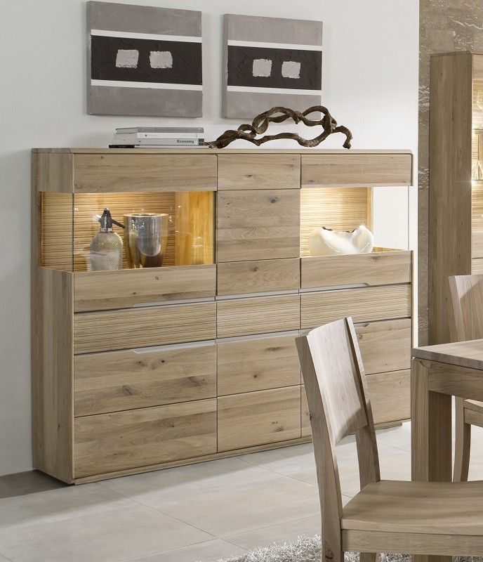 highboard oslo wildeiche 162x42x138 cm modern. Black Bedroom Furniture Sets. Home Design Ideas