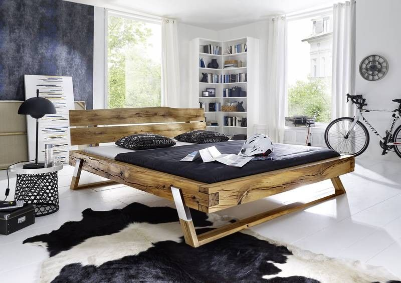 bett bettgestell balkenm bel wildeiche 200x180x86 cm. Black Bedroom Furniture Sets. Home Design Ideas