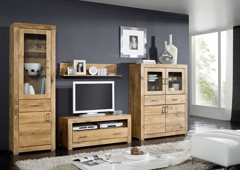 berlin wohnwand 900 wildeiche massiv ge lt. Black Bedroom Furniture Sets. Home Design Ideas