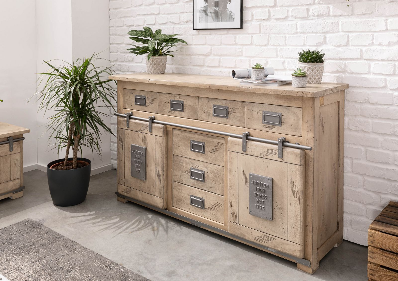 Sideboard Mango 150x45x90 whitewashed lackiert RAILWAY #319