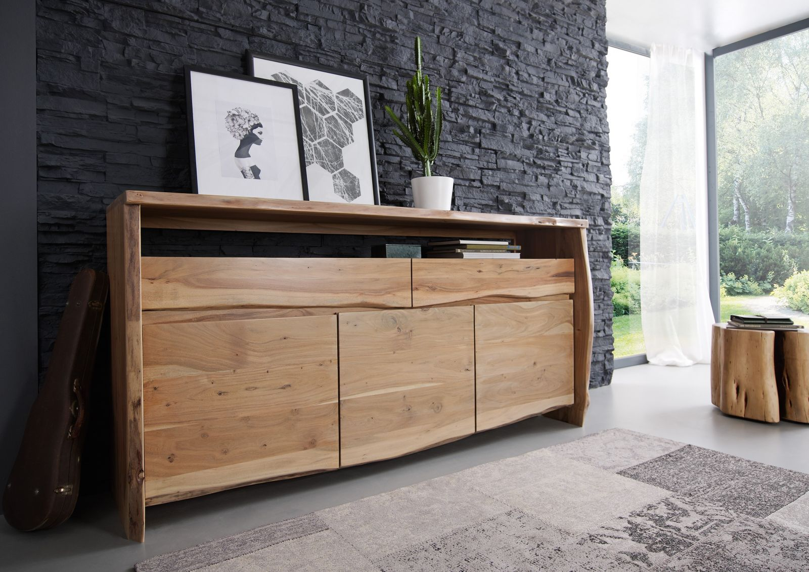 live edge sideboard 102 akazie massiv lackiert. Black Bedroom Furniture Sets. Home Design Ideas