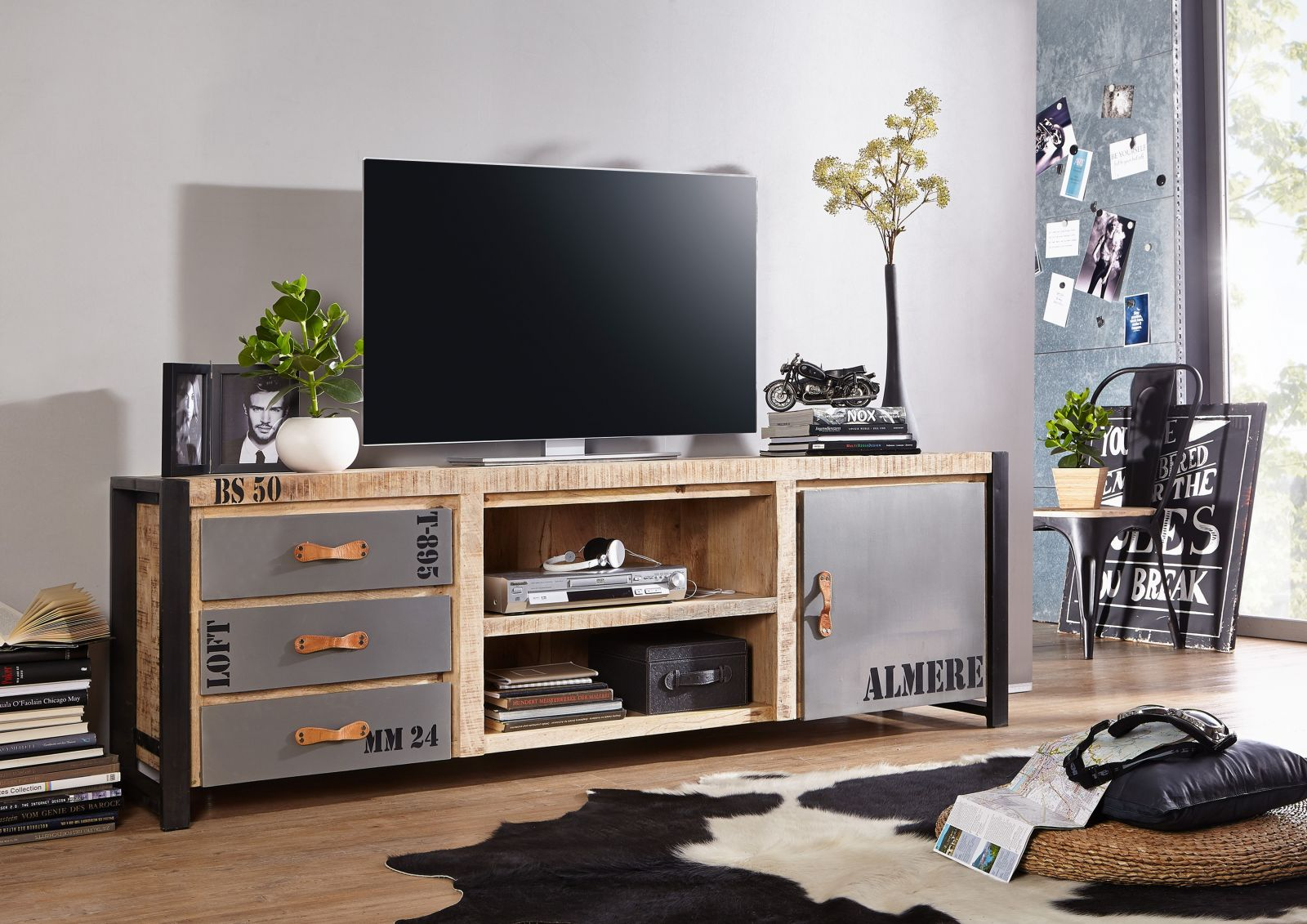 tv lowboard sideboard massivholz tv board mangoholz bedruckt factory 133 ebay. Black Bedroom Furniture Sets. Home Design Ideas