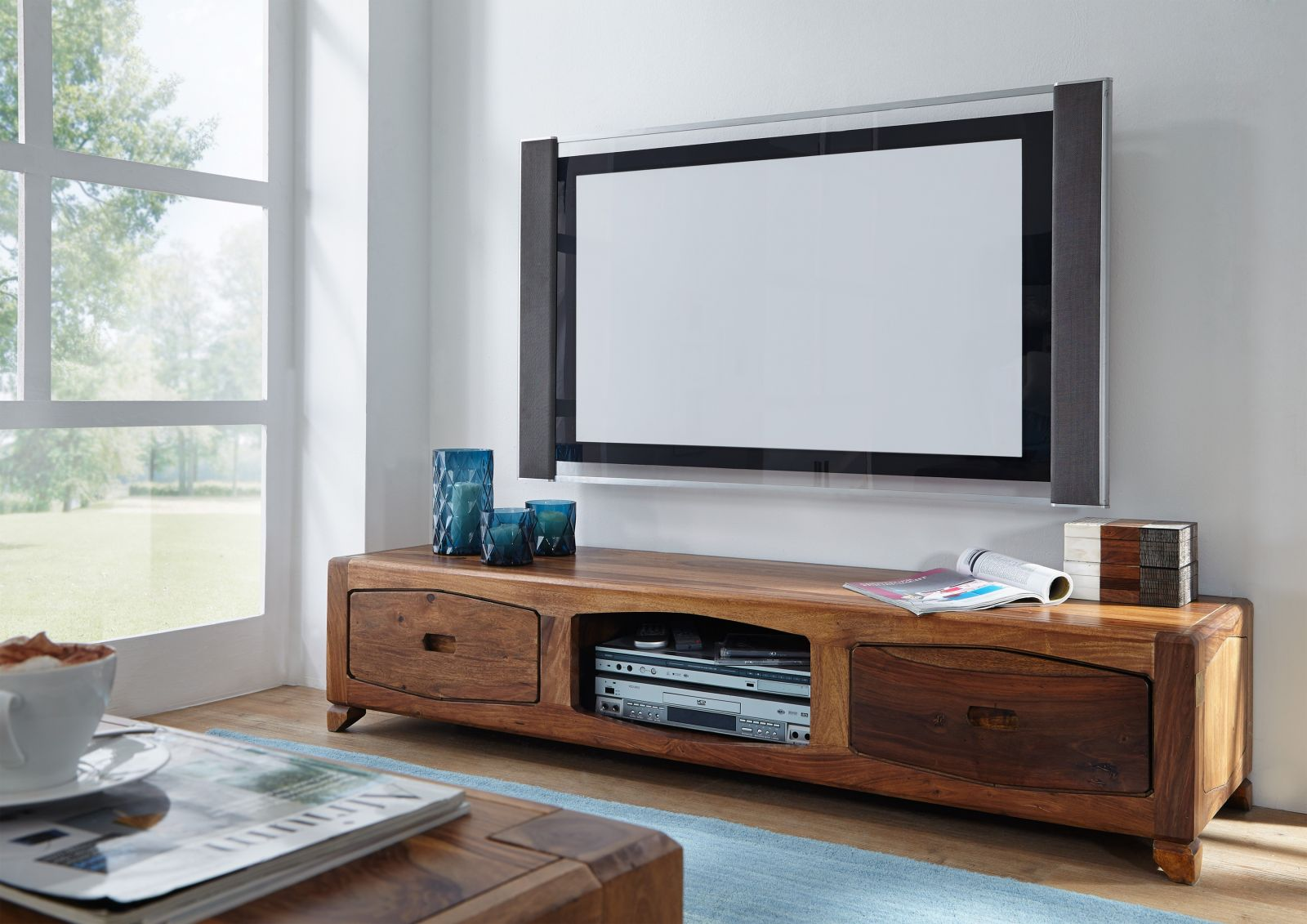 massivholz tv board sheesham palisander ancona 107 ebay. Black Bedroom Furniture Sets. Home Design Ideas
