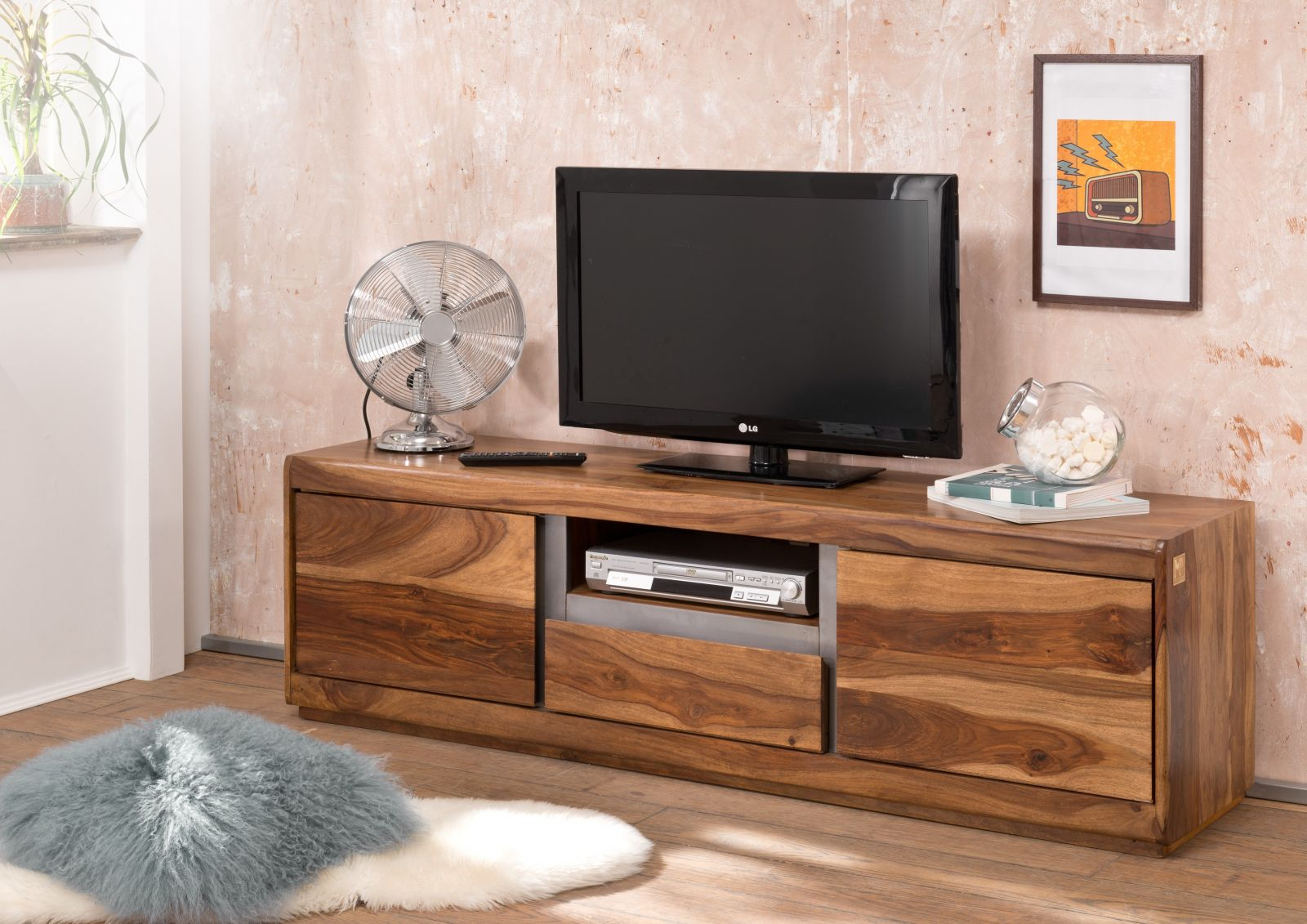 sheesham massiv tv board palisander holz shield 115 ebay. Black Bedroom Furniture Sets. Home Design Ideas