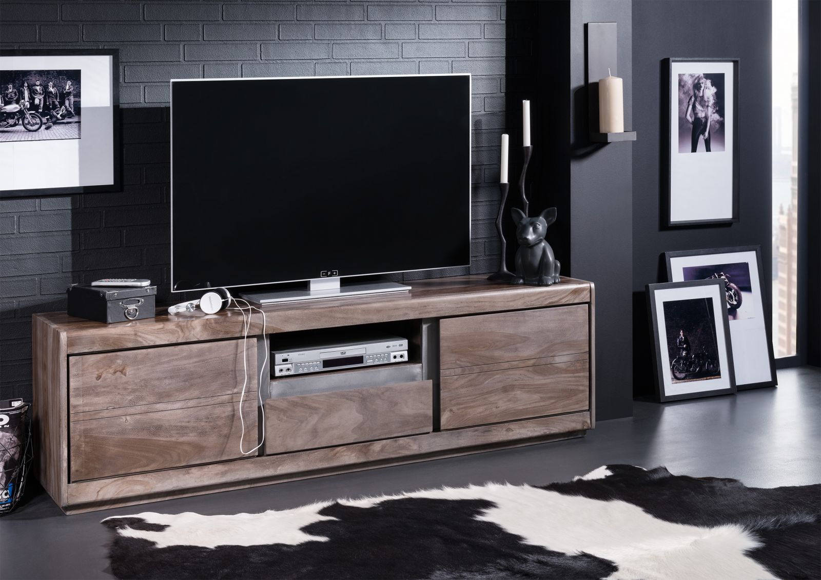 TV-Board Sheesham 170x40x50 smoked oak lackiert SHIELD #215