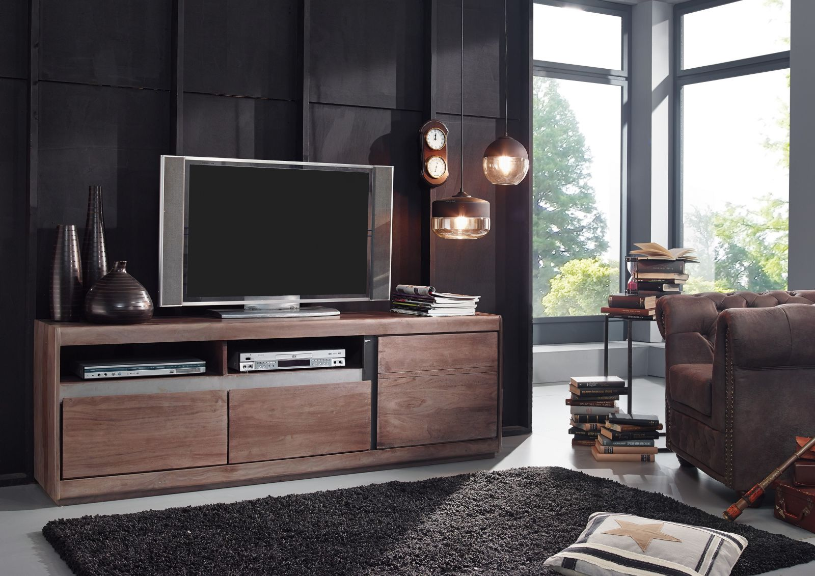 tv board modern aus sheesham palisander holz lackiert smoked oak. Black Bedroom Furniture Sets. Home Design Ideas