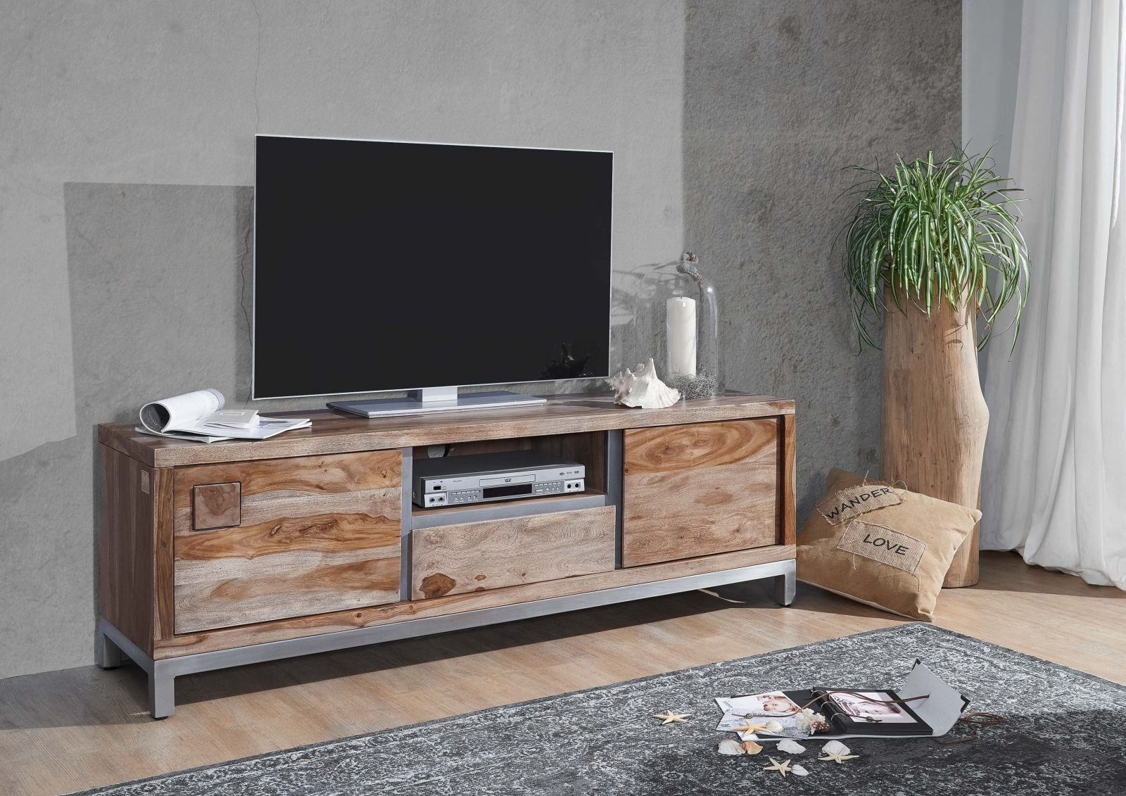 tv board sheesham akazie 170x40x56 gebeizt paris 14. Black Bedroom Furniture Sets. Home Design Ideas