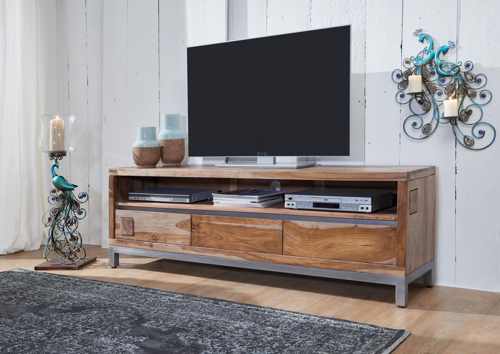 tv board sheesham akazie 170x40x56 gebeizt paris 15. Black Bedroom Furniture Sets. Home Design Ideas