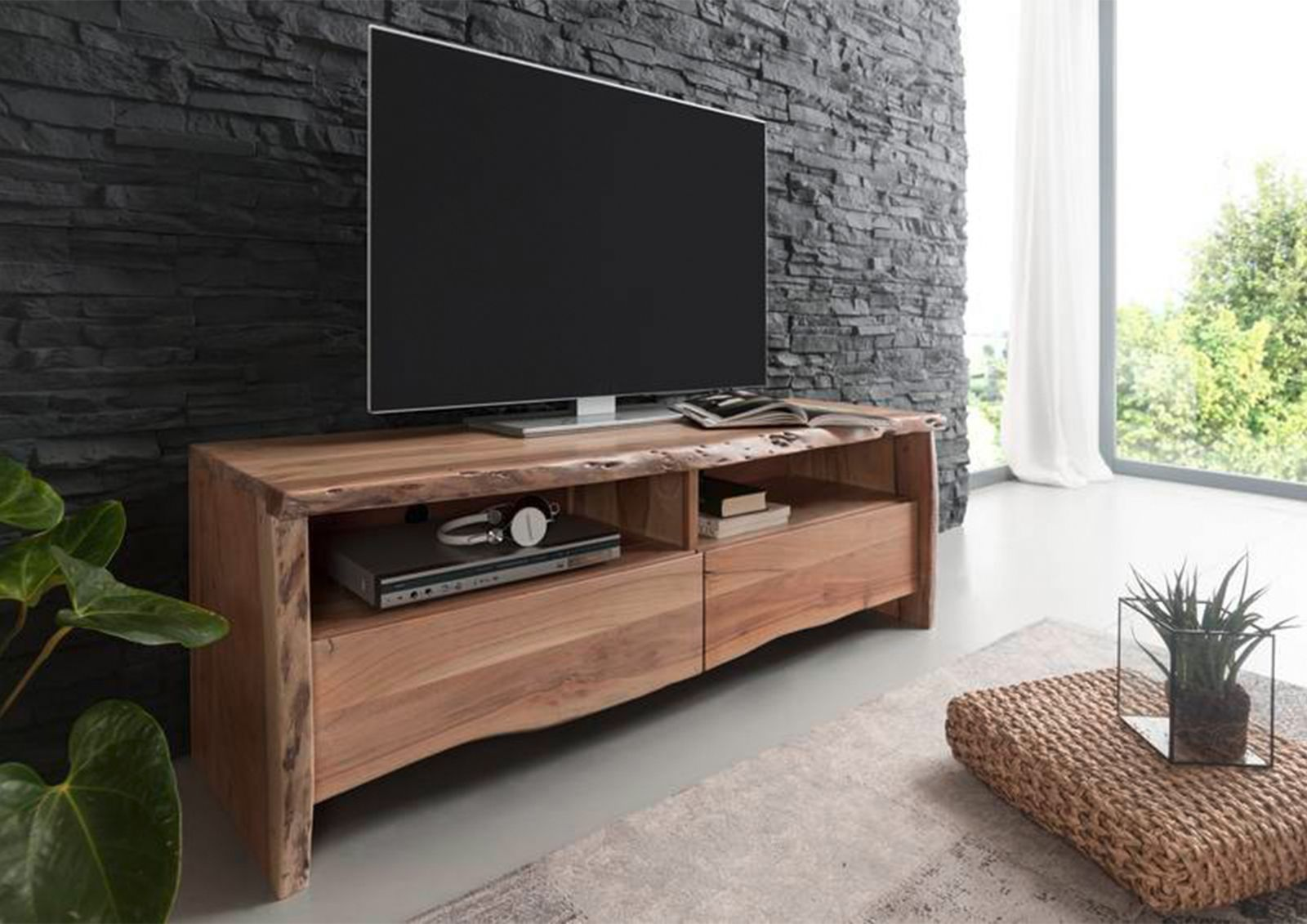 live edge tv board 108 akazie massiv lackiert. Black Bedroom Furniture Sets. Home Design Ideas