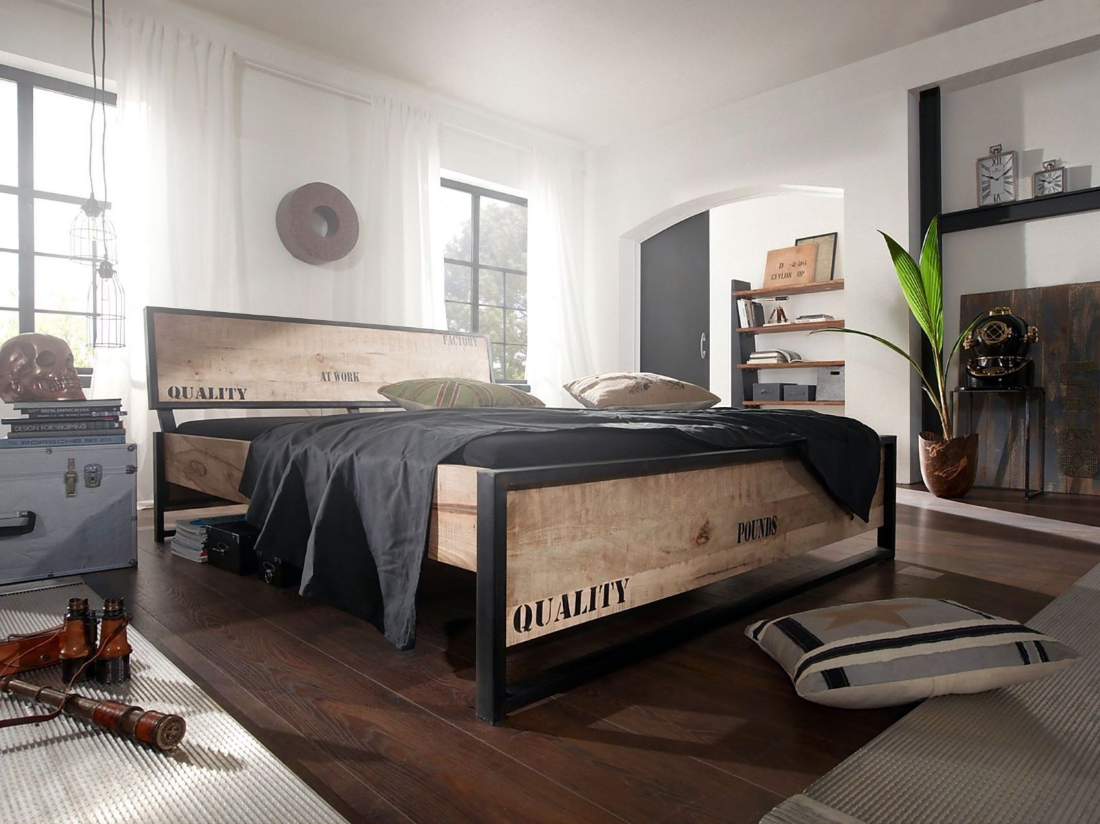 bett bettgestell factory mango 200x90x91 cm industrial stil. Black Bedroom Furniture Sets. Home Design Ideas