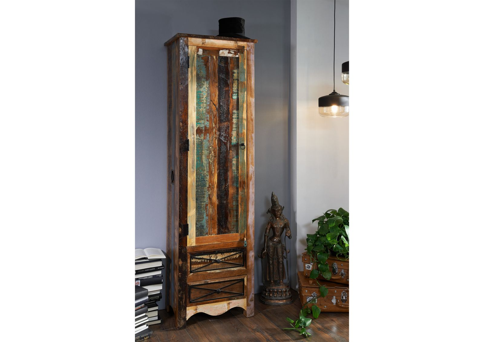 Garderobe nature of spirit altholz 60x40x200 cm vintage for Garderobe natur