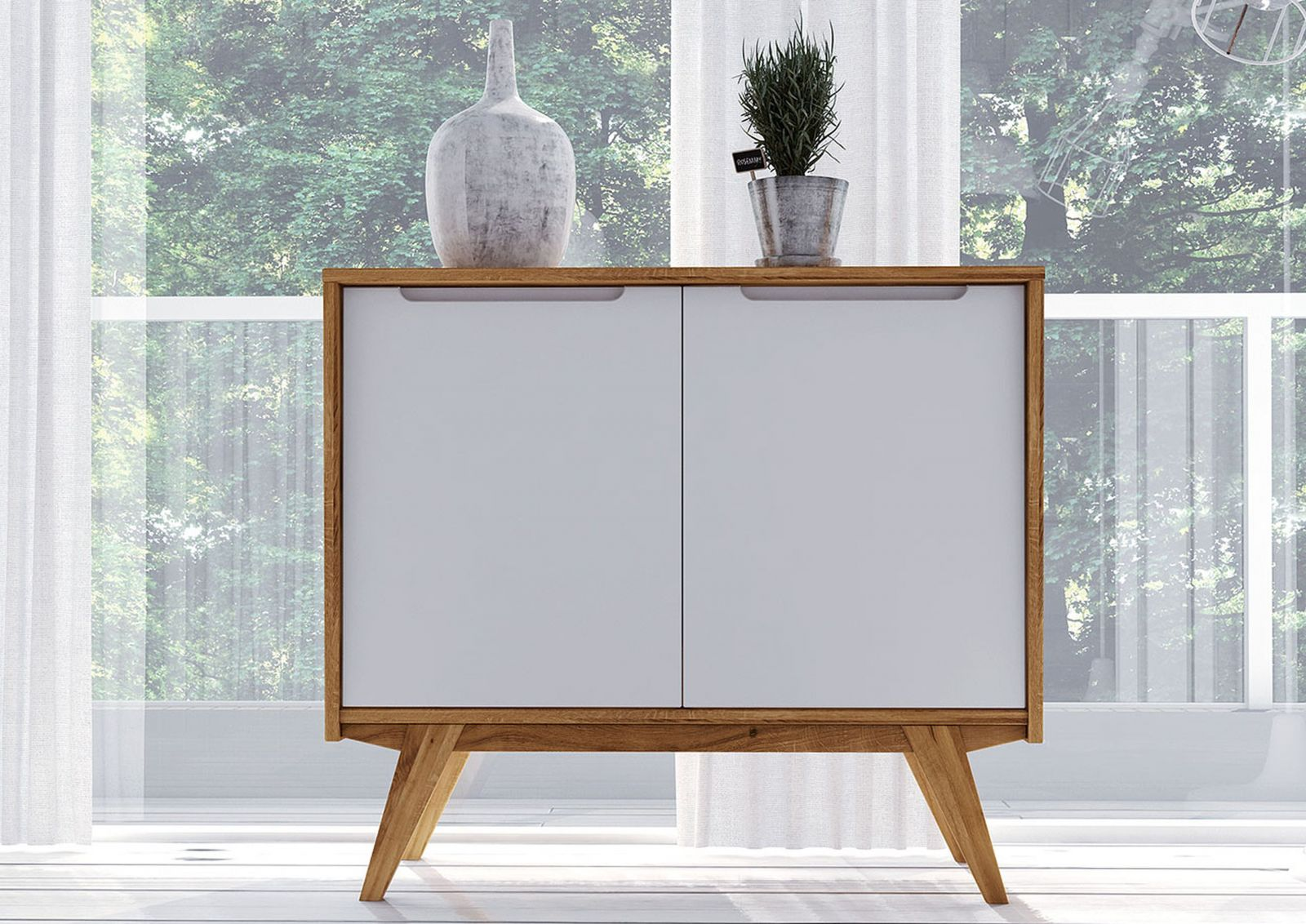 Kommode Wildeiche 100x48x88 Natur Geolt Weiss Original Retro 05