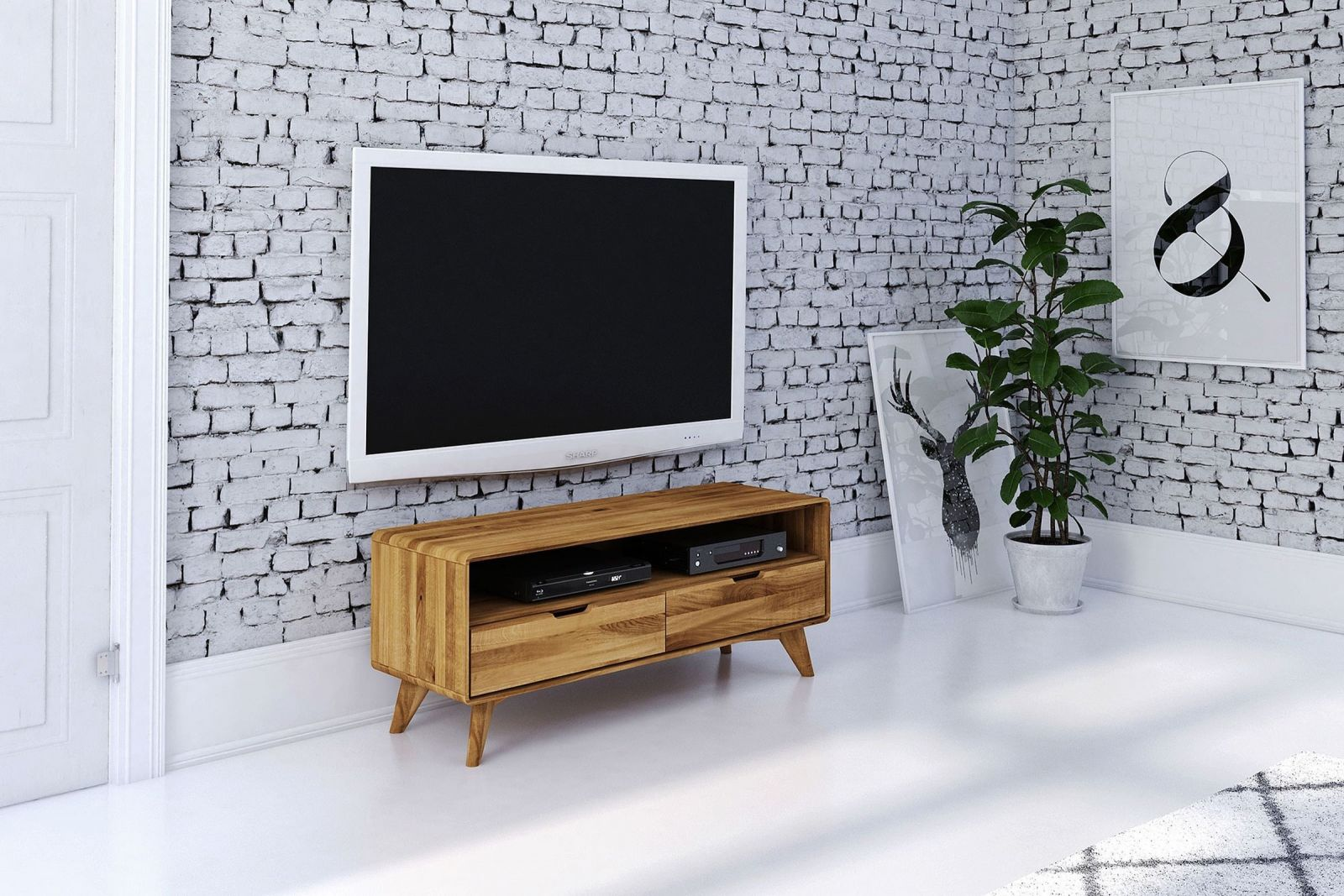 kommode tv board wildeiche natur ge lt 120x40x48 malm. Black Bedroom Furniture Sets. Home Design Ideas