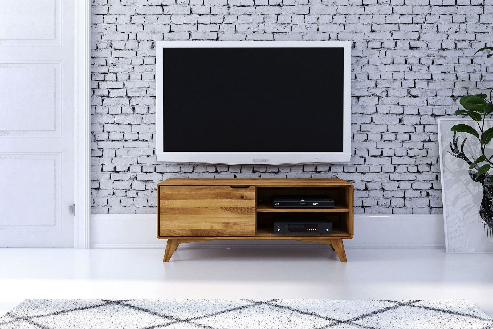 fernsehboard tv board wildeiche natur ge lt 120x40x48 malm. Black Bedroom Furniture Sets. Home Design Ideas