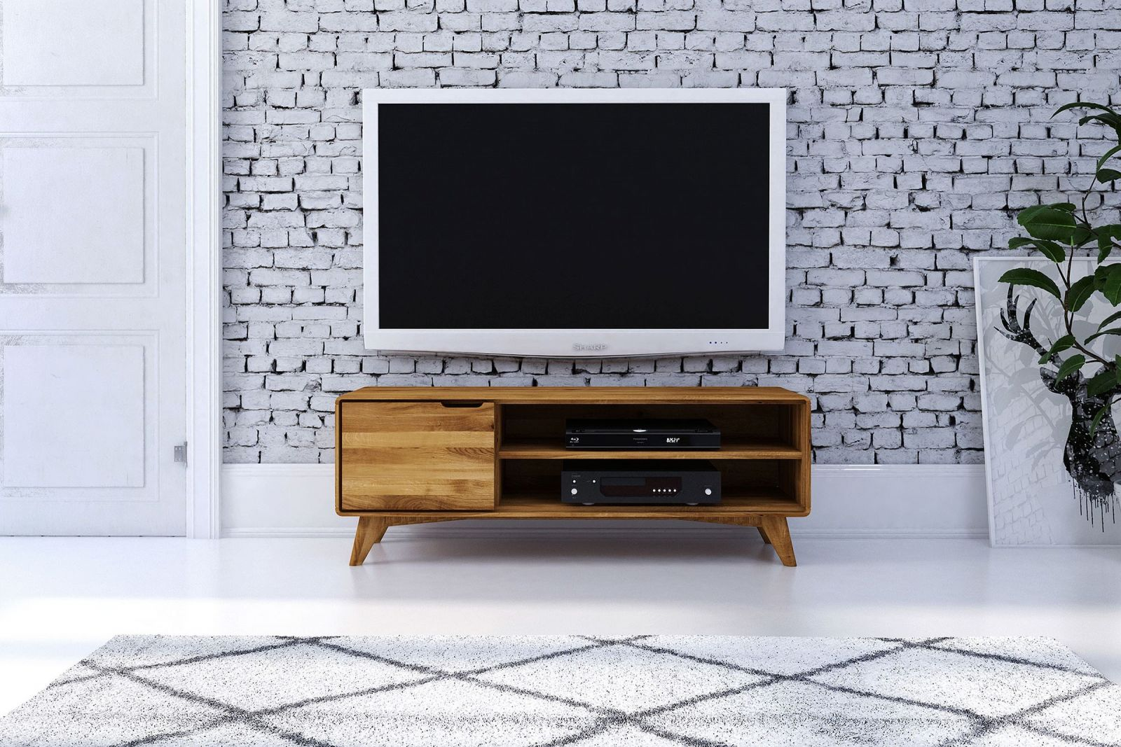 tv board wildeiche natur ge lt 134x40x48 tv rack malm. Black Bedroom Furniture Sets. Home Design Ideas