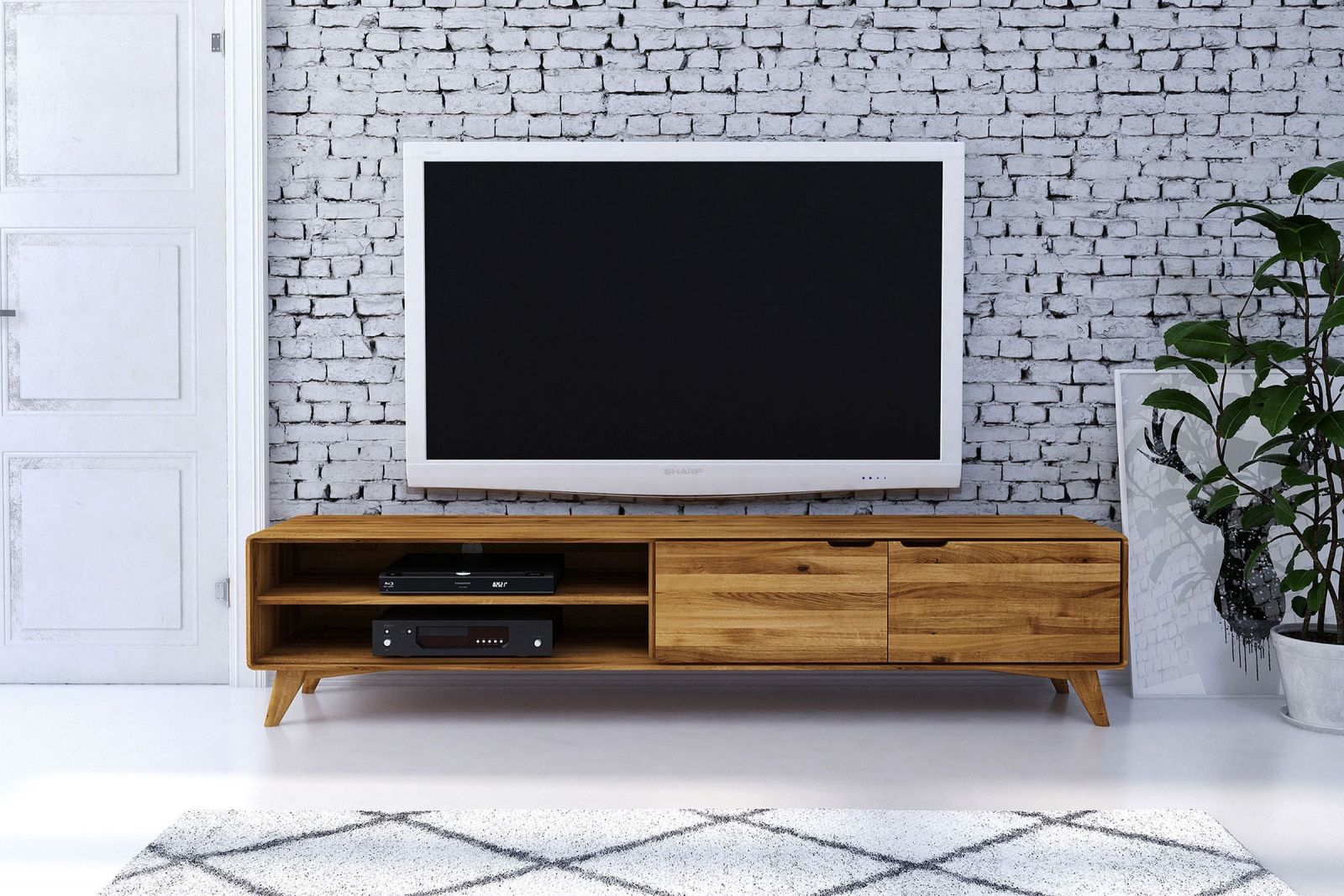 tv board lowboard aus europ ischer wildeiche natur ge lt malm. Black Bedroom Furniture Sets. Home Design Ideas