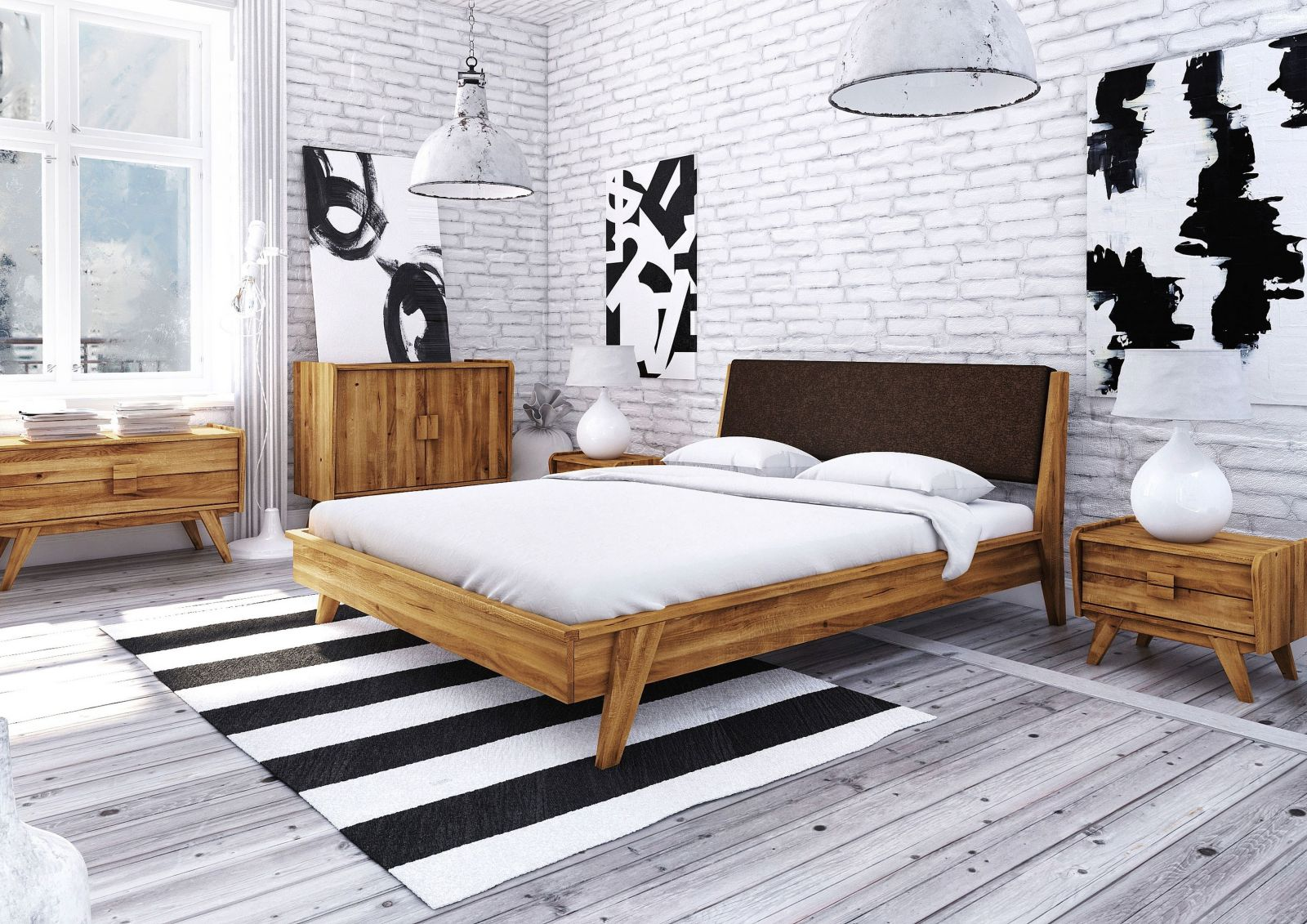 bett wildeiche 160x200 cm braun aus massivholz massivholzm bel. Black Bedroom Furniture Sets. Home Design Ideas