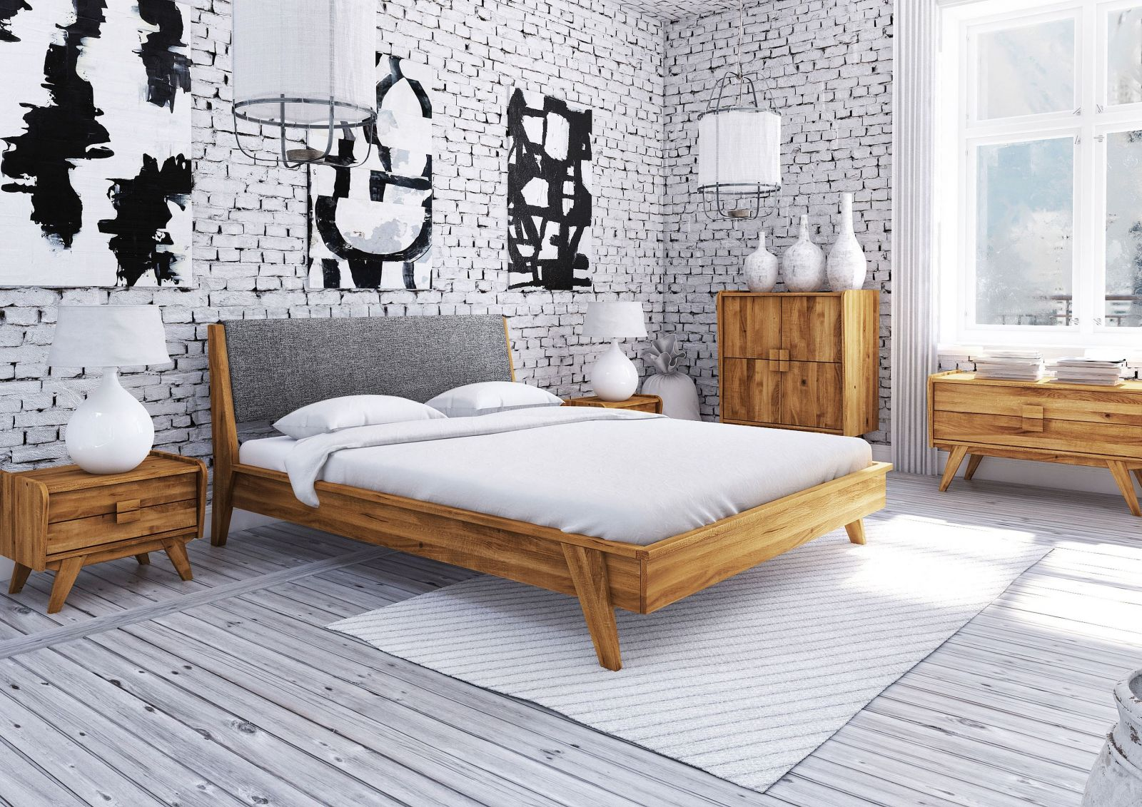 bett wildeiche 160x200 cm grau aus massivholz massivholzm bel. Black Bedroom Furniture Sets. Home Design Ideas