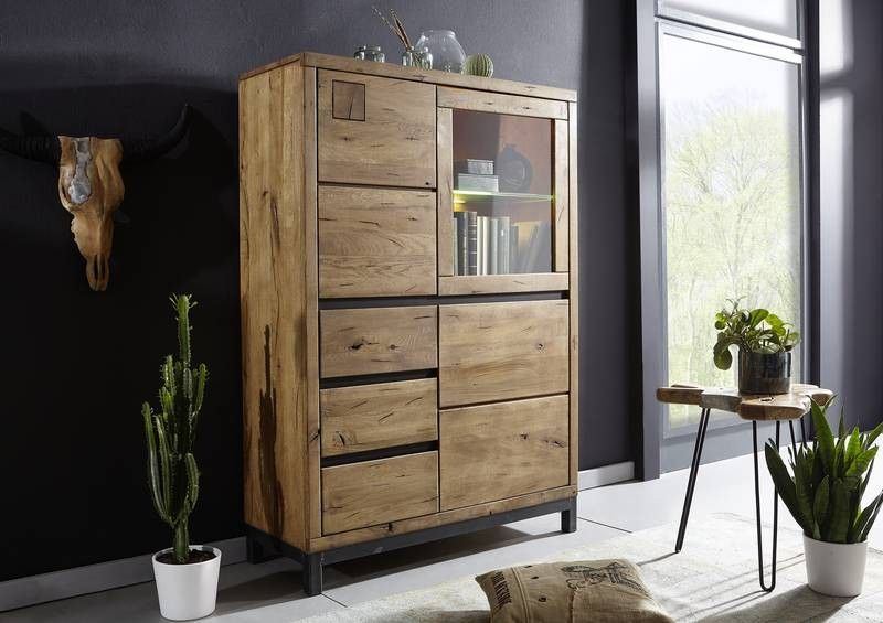 Highboard Wildeiche 103x40x148 Tabacco brown geölt VILLANDERS #306