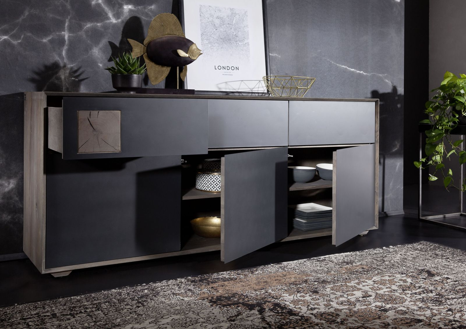 sideboard wildeiche 180x42x78 smoked ge lt helsinki 104. Black Bedroom Furniture Sets. Home Design Ideas