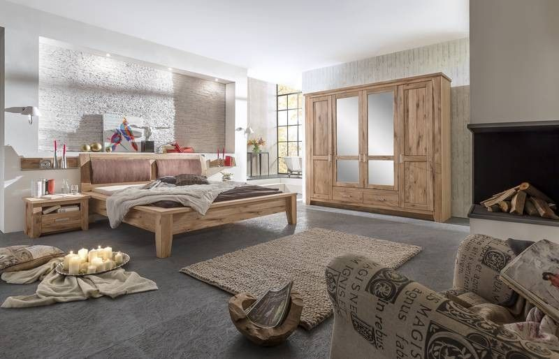 schlafzimmer modern aus wildeiche holz ge lt natur. Black Bedroom Furniture Sets. Home Design Ideas
