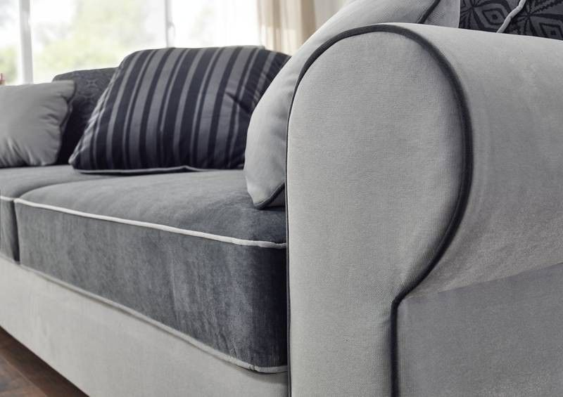 Sofa deluxe comfort mit schlaffunktion u bettkasten grau for Couch schlaffunktion bettkasten