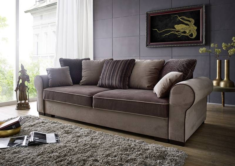 sofa deluxe comfort mit schlaffunktion und bettkasten ebay. Black Bedroom Furniture Sets. Home Design Ideas